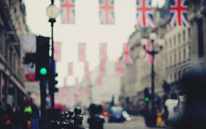 street, road, United Kingdom, city, bokeh, blur, London, machine, flags, people, England