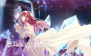 red hair, dress, Fairy Tail, couple, Elsa Scarlet, Gerard Fernandes, blue hair, anime, tattoo, ice