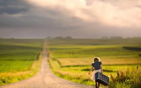 девочка, простор, дорога, чемодан, путь, боке