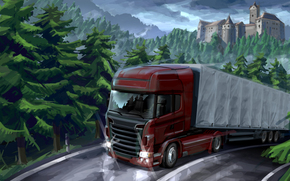 marking, painting, Art, trucker, road, nature, car, Castle., cargo, Forests, Fura, van, trailer, tractor