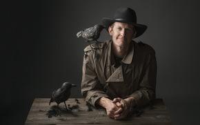 фон, человек, птицы