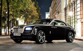 Race, Rolls-Royce, street, night, Front, trees, Other brands