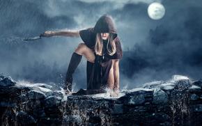 girl, knife, rain, art., cloak