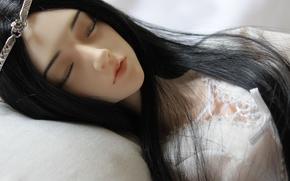 кукла, девушка, спит, корона