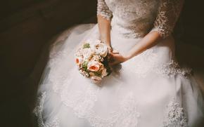 vestire, sposa, bouquet, matrimonio