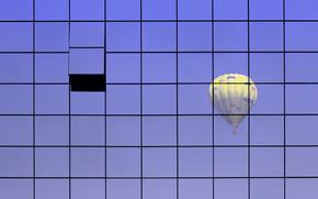 воздушный шар, стена, стекло