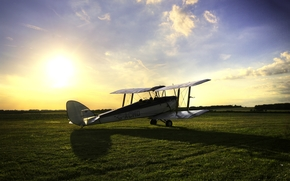 Тайгер Мот, трава, самолёт – биплан, поле, тень, солнце, небо, тренировочный, британский