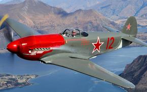fighter, plane, sea, flight, Mountains, landscape, pilot