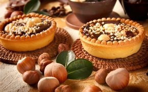 nuts, cakes, forest, dessert, tartlets, chocolate, sweets