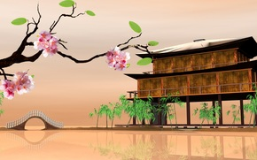 Sakura, Oriental landscapes, home on the water
