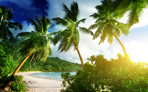 Seychelles, Isola di Mahe, Spiaggia di Takamaka, tropicale, Paradise, spiaggia, palme, mare, oceano, sunshine, estate, Vacanza, spiaggia, mare, Palme, tropici, sabbia, puntellare