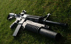 Asalto, rifle, lanzador, hierba, podstvol'nyy, arma