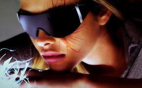 фон, свет, фантазия, невероятно, тень, воображение, Оригинально, ушко, очки, девушка, арт, искусство, цвета, стиль, губы, занятно, нос, яркие, креатив, волосы, лицо, боди арт, рисунок