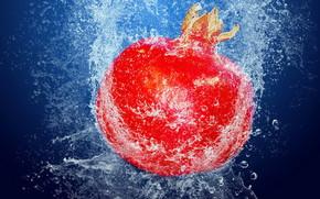 гранат, еда, фрукт, вода, пузырьки