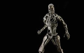 robot, ESQUELETO, fondo negro, cráneo, terminator