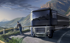 contemplation, trailer, car, recreation, Fura, tractor, truckers, marking, Nature, mountains., Stopping, cargo, Driver, Art, painting, van, road