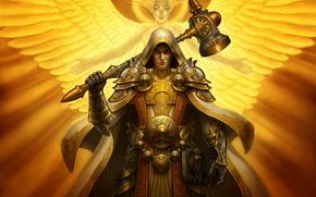 angelo, chiaro, armatura, martello, guerriero