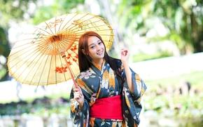 стиль, девушка, зонт, наряд, азиатка