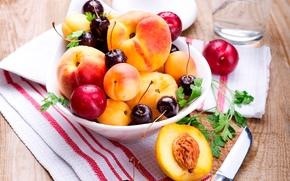 черешня, вишня, ягоды, абрикосы, фрукты, лето, нож, салфетка, персики, тарелка, сливы