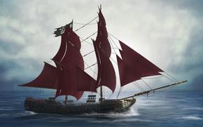 палуба, мачты, корабль, рендер, море