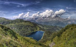 озеро, фон, горы, небо, широкоформатные, широкоэкранные, природа, обои, полноэкранные, вид, красота, облака