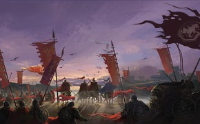 Cavalli, esercito, Asia, Art, esercito, banner, arma, Guerra