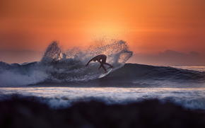 water, spray, Kalliforniya, sunset, guy, Sport, ocean, sun, surfing, waves