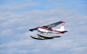 sky, Floats, single-engined, light aircraft, flight