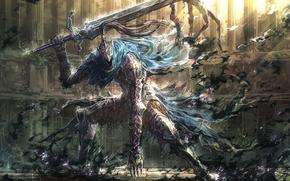 арториас путник бездны, меч, рыцарь арториас, игры, доспех, арт