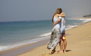 настроения, любовь, фон, парень, прогулка, пара, обои, девушка, море