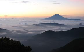 широкоэкранные, широкоформатные, гора, фудзияма, фуджи, облака, обои, вулкан, фудзисан, фудзи, фон, япония, полноэкранные