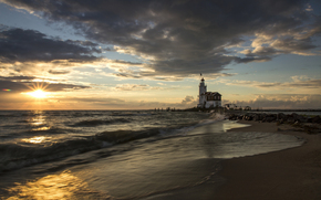 beach, sun, rise, PEARCE, morning, Costa Blanca, lighthouse, sea, Spain