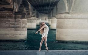grace, dance, dress, pointes, bridge, ballerina