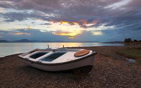 lago, playa, puesta del sol, NUBES, barco, nubes