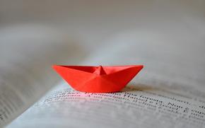 кораблик, книга, оригами