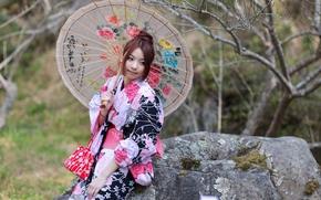 девушка, стиль, азиатка, зонт, наряд