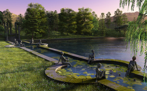 pond, render, park, trees, sunset, statue, lake