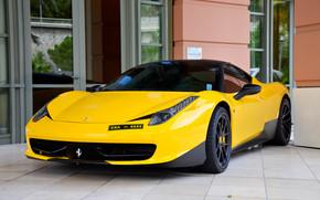 windows, facade, Ferrari, Mirror, Italy, yellow, tuning, front view, Ferrari, black roof, door