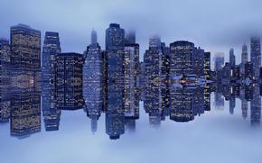 riflessione, nebbia, New York, Manhattan, porto