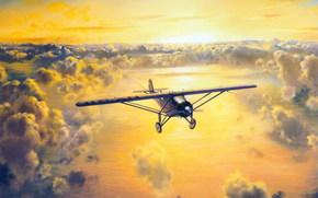 Чарльз Линдберг, из, Нью-Йорка, одноместный, Атлантику, солнце, рисунок, в, Париж, самолёт, небо, пилот, через, перелёт, облака
