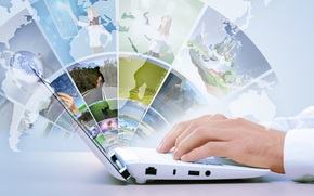 руки, Hi-Tech, карта, интернет, технологии, ноутбук
