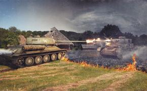 URSS, fogo, Alemanha, Tanques, tanque