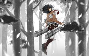 вторжение гигантов, природа, деревья, аниме, девушка, арт, меч, оружие