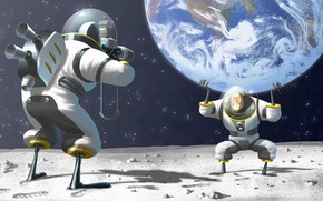 camera, space suit, moon, humor, pose, astronauts, Art, space, land