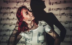 shadow, music, light, girl