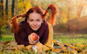 pigtails, apple, autumn, redhead, smile, girl