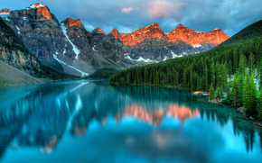 wharf, lake, trees, Mountains, top, sky, snow, reflection, sunset, clouds, boat