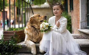 dog, girl, bouquet, friend