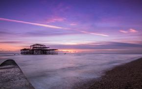 shore, sea, PEARCE, evening, lilac, England, strait, clouds, Brighton, sky, calm, sunset, United Kingdom
