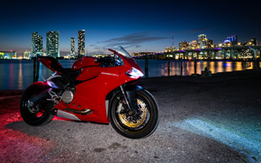 motorcycles, motorcycle, red, lights, twilight, Ducati, city
